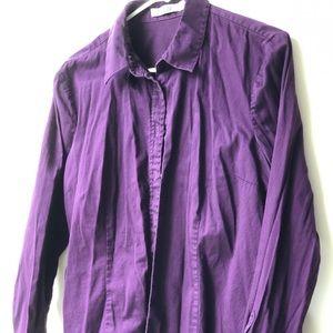 Purple long sleeve button down shirt